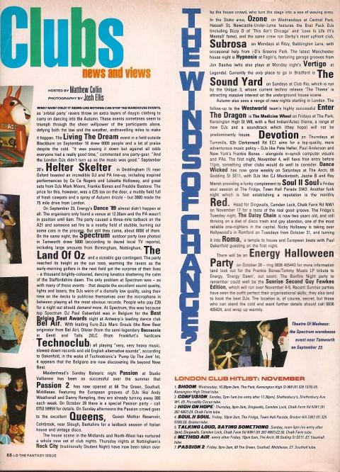 i-D Club Listings November 1989