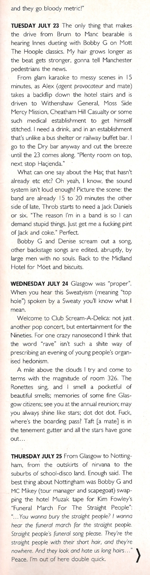 Andrew Weatherall's Primal Scream Tour Diary, The Face 1991