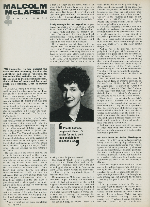 The Face / Malcolm McLaren Interview / Test Pressing
